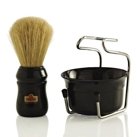 Набор для бритья Omega Помазок (кабан) + металл подставка + чаша для бритья.