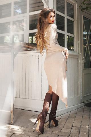 Асимметричное трикотажное платье 1