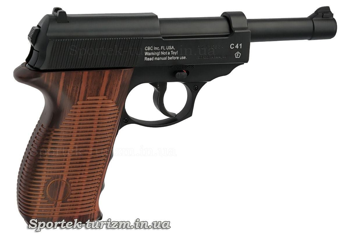 Вид праворуч на газобалонний пневматичний пістолет Borner C41