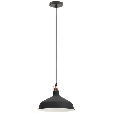 Подвесной светильник Эра Loft PL2 BK/RC шагрень черный/медь