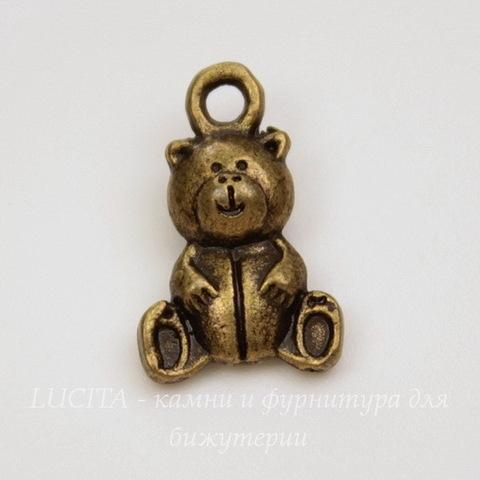 "Подвеска 3D ""Мишка"" 16х10 мм (цвет - античная бронза)"