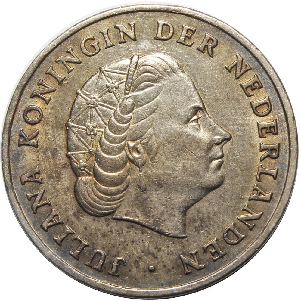 1 гульден. Антильские Нидерланды. 1952 год. Серебро. VF+