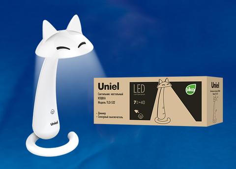 TLD-532 White/LED/360Lm/4500K/Dimmer Светильник настольный «Кошка». 7W. Сенсорный выключатель. Диммер. Белый. TM Uniel.