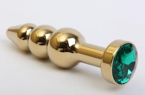 Пробка металл фигурная елочка золото с зеленым стразом 11,2х2,9см 47436-6MM