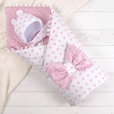 СуперМамкет. Конверт-одеяло с бантом и шапочкой Звездочки, розовый