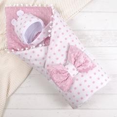 СуперМамкет. Конверт-одеяло с бантом и шапочкой Звездочки, розовый вид 1