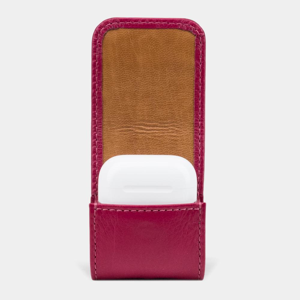 Чехол-держатель для наушников Petit Easy из натуральной кожи теленка, цвета малины
