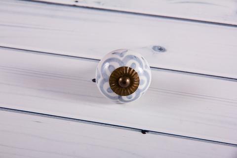 Ручка мебельная керамическая  - серый цветок, арт. 00001021