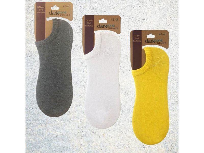 Носки-невидимки мужские - набор из 3 пар (желтые, белые, серые) DARKZONE DZCP3107
