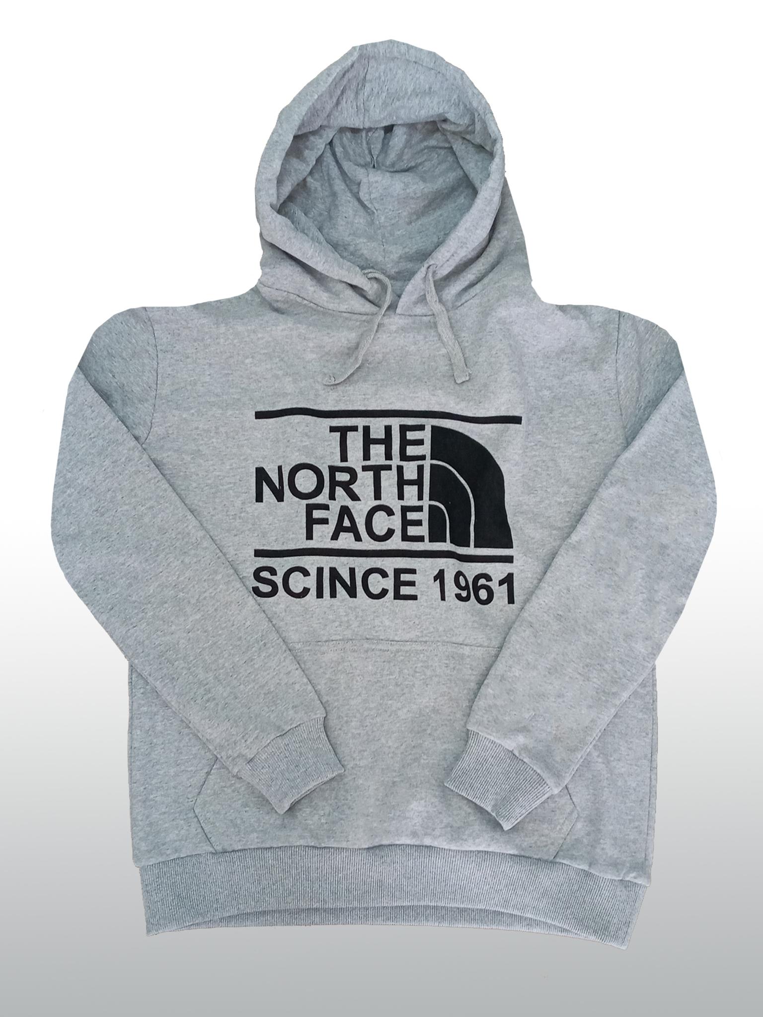 Толстовка худи The North Face  (унисекс) трех нить с начосом