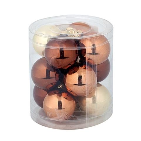 Набор шаров 15шт. (стекло), D6см,  цвет: коричневый микс