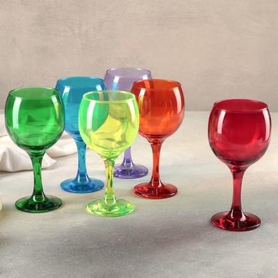 Набор из 6 бокалов для вина «Радуга», 290 мл
