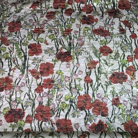 Ткань жаккард цветы красные гвоздики 3057