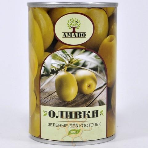 Оливки зеленые без косточек в ж/б Amado, 300г