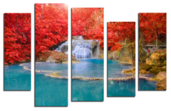 "Модульная картина ""Водопад в алом лесу"""