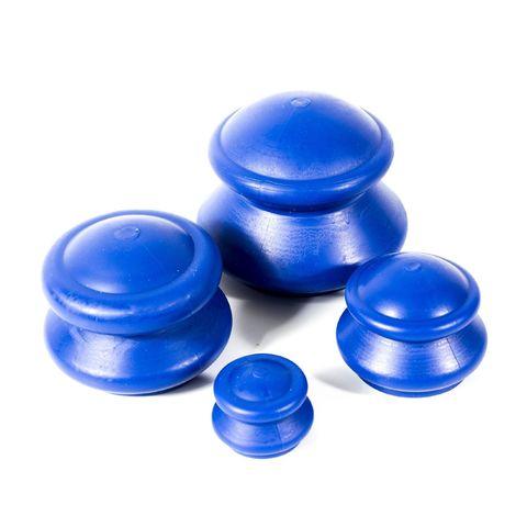 Банки для вакуумного массажа резиновые, 4шт (жесткие, синяя)