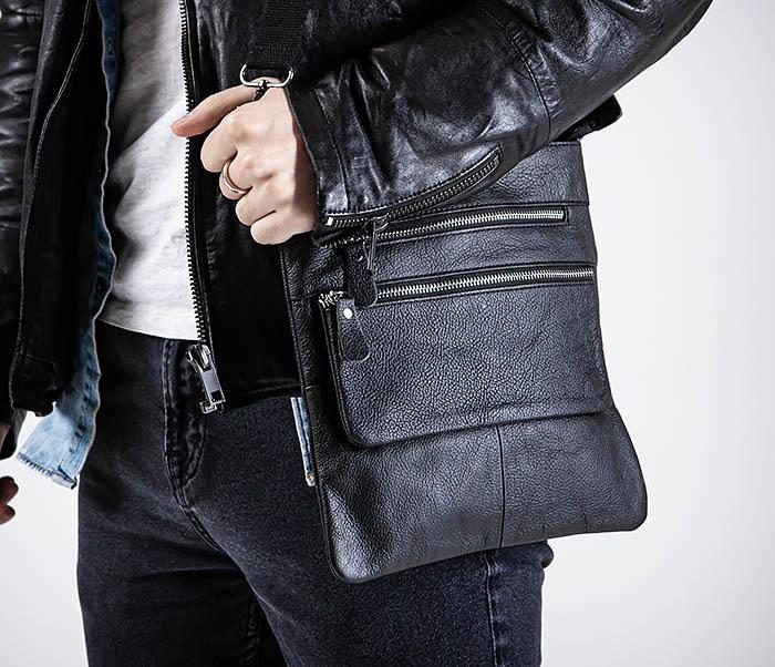 BAG539-1 Кожаная сумка планшет с ремнем на плечо