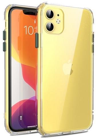 Прозрачный чехол на iPhone 11 с темно-зелеными кнопками, серии Ultra Hybrid от Caseport