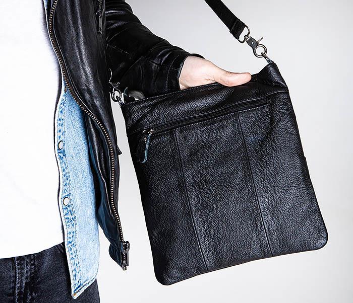 BAG539-1 Кожаная сумка планшет с ремнем на плечо фото 03