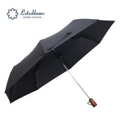 Мужской семейный премиальный зонт, с защитой от УФ, 8 спиц, деревянная ручка (черный)