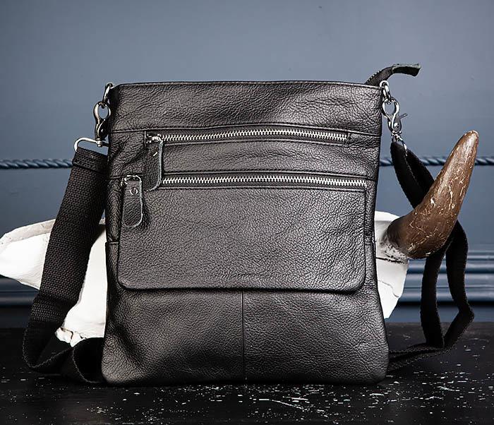 BAG539-1 Кожаная сумка планшет с ремнем на плечо фото 04