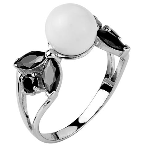 Кольцо из серебра с черной нано шпинелью и белым кварцем  Арт.1073н-шп-кв