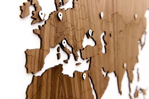 Карта мира Wall Decoration EXCLUSIVE 130x78 cm (Американский Орех)