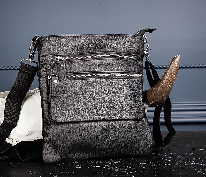 BAG539-1 Кожаная сумка планшет с ремнем на плечо фото 05