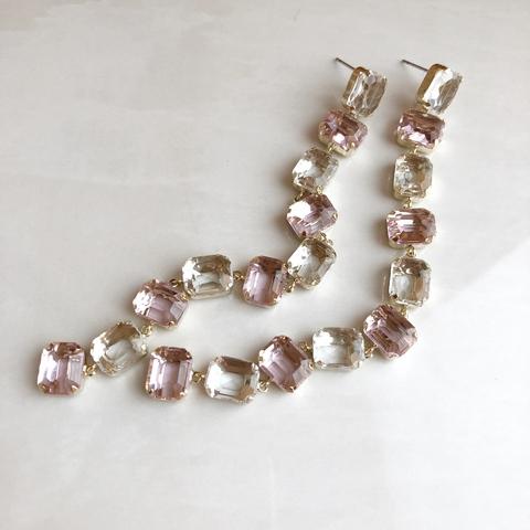 Серьги Цепочка с Цирконами, розовый оттенок