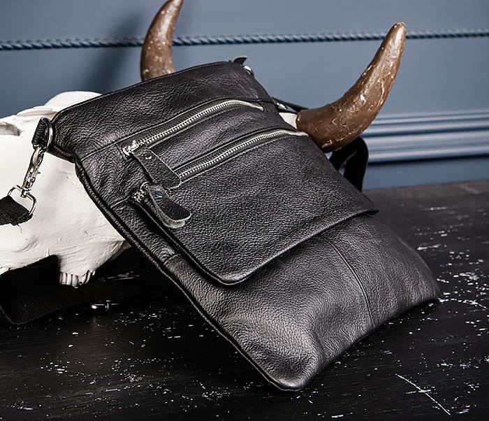 BAG539-1 Кожаная сумка планшет с ремнем на плечо фото 07