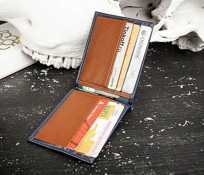 WL322-3 Кожаный зажим для купюр и карточек из кожи, «Moriz» фото 06