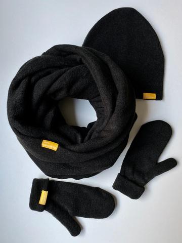 Комплект с варежками чёрный из турецкой шерсти
