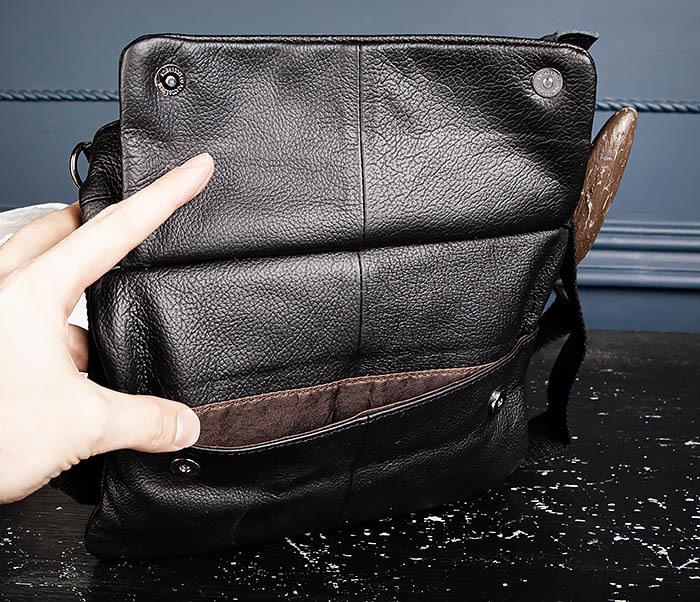 BAG539-1 Кожаная сумка планшет с ремнем на плечо фото 09