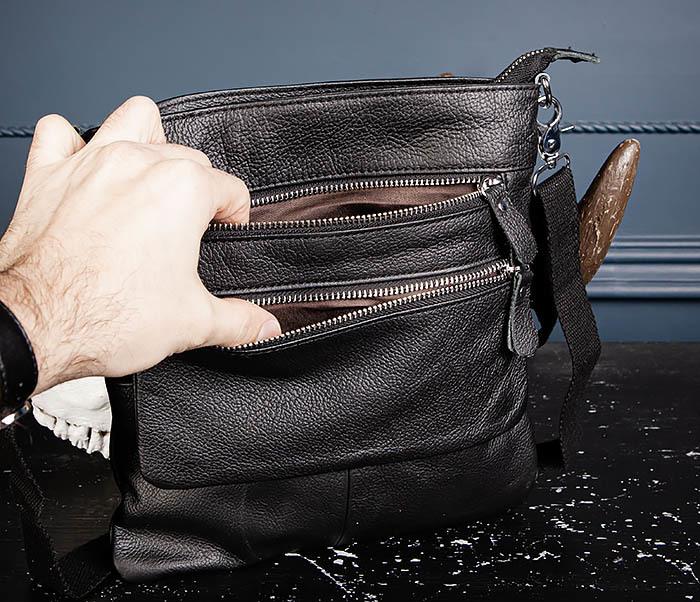 BAG539-1 Кожаная сумка планшет с ремнем на плечо фото 10