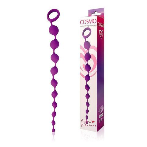 Фиолетовая фигурная анальная цепочка Cosmo - 32 см.