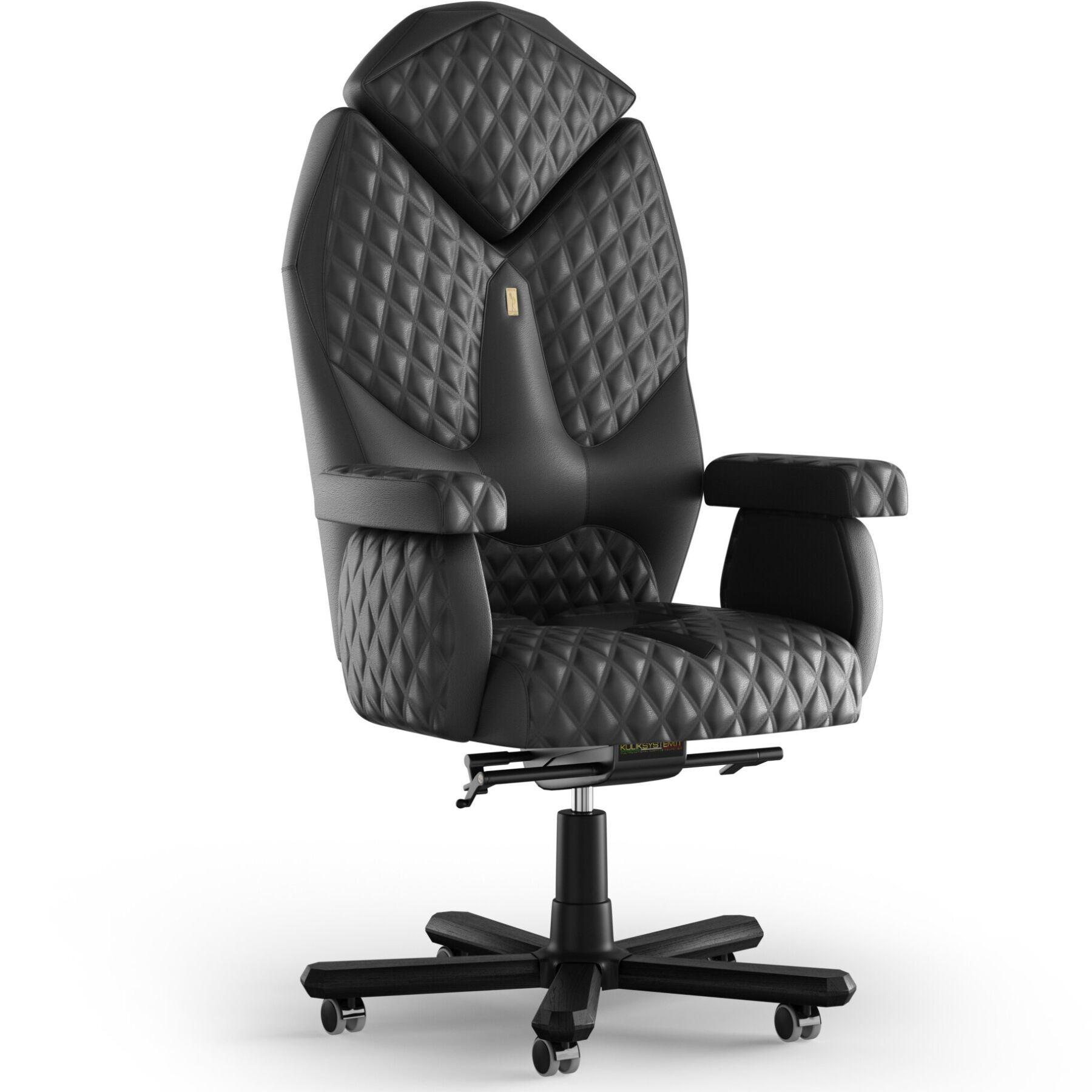 Кресло KULIK SYSTEM DIAMOND Кожа с подголовником со строчкой