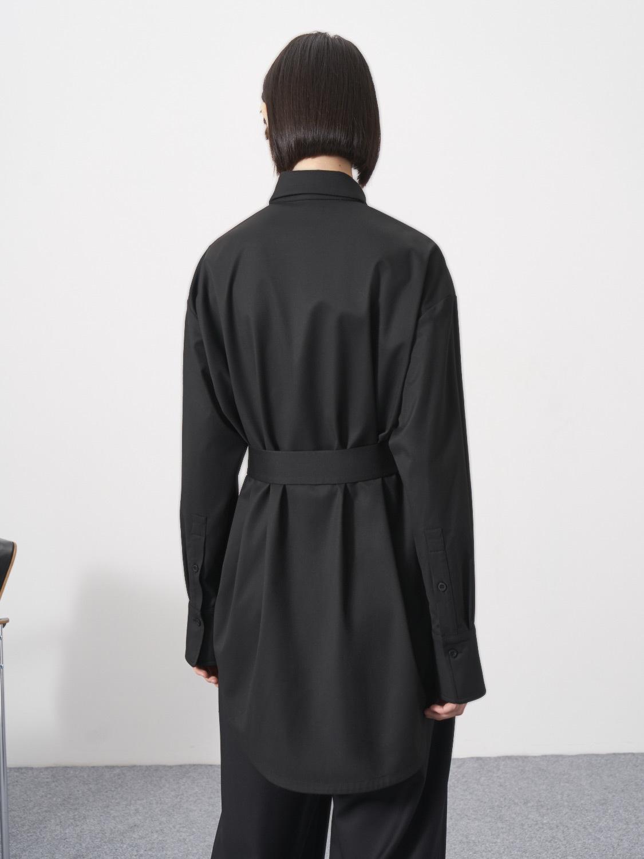 Рубашка Anna удлинённая с поясом, Черный