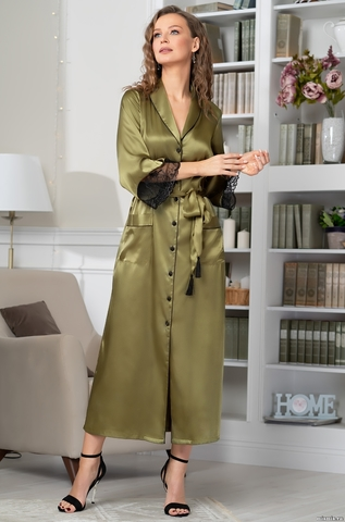 Шелковый длинный халат на пуговицах MIA-Amore OLIVIA ОЛИВИЯ 3649