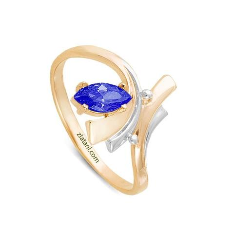 Кольцо с фианитами и позолотой