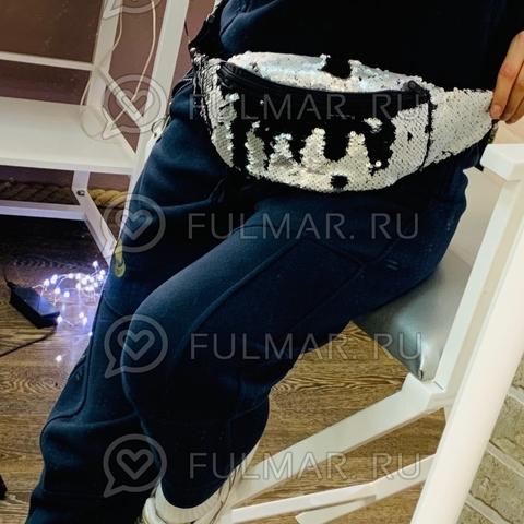 Сумка на пояс женская в матовых пайетках Серая-Чёрная