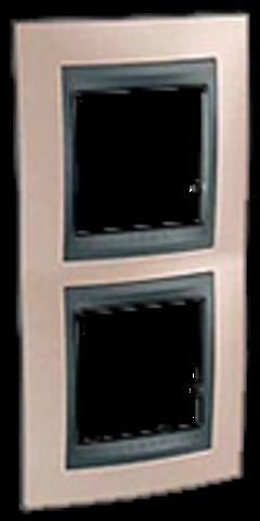 Рамка на 2 поста, вертикальная. Цвет Оникс-графит. Schneider electric Unica Top. MGU66.004V.296