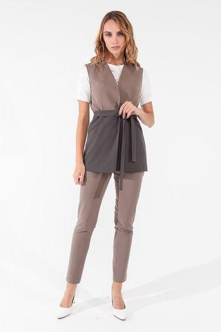 Фото зауженные пыльно-коричневые брюки длиной 7/8 - Брюки А505-571 (1)