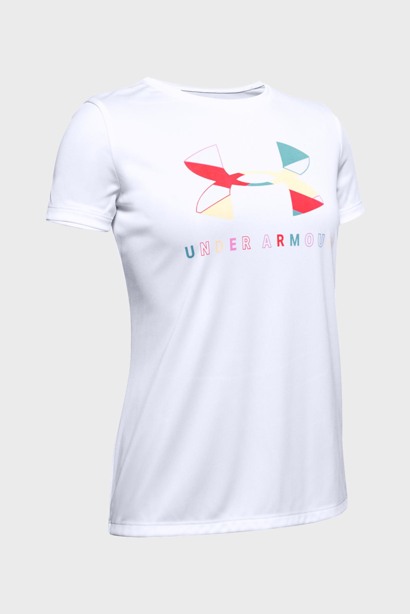 Детская белая футболка Tech Graphic Big Logo SS Under Armour