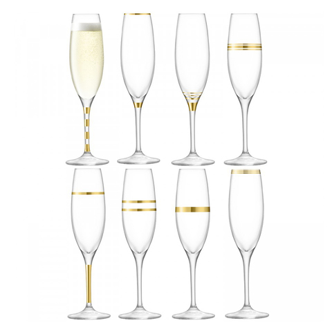 Набор из 8 бокалов-флейт золотым декором Deco 225 мл