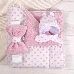 СуперМамкет. Конверт-одеяло с бантом и шапочкой Звездочки, розовый вид 2
