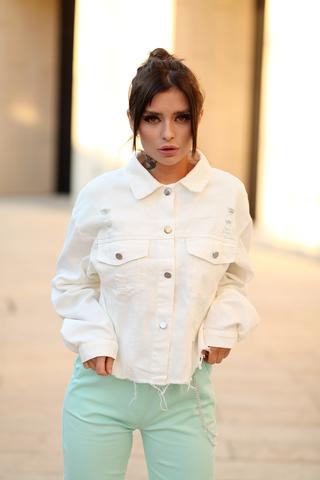 Белая джинсовая куртка оверсайз nadya