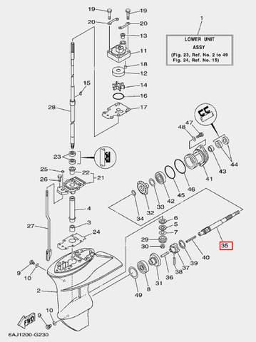 Вал винта для лодочного мотора F20 Sea-PRO (23-35)
