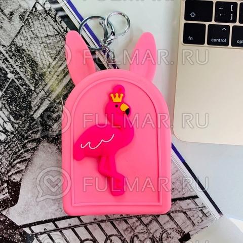Детская силиконовая ключница-мини кошелек-брелок с ушами зайца Фламинго (цвет: малиновый)