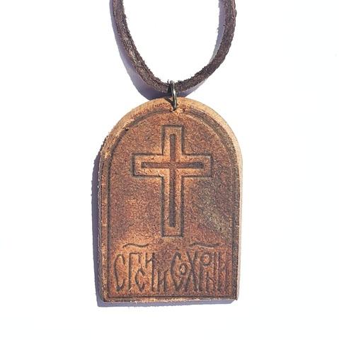 Икона нательная Божией Матери Казанская кожаная