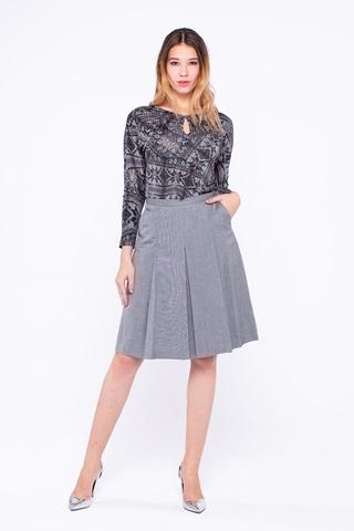Фото серая расклешенная юбка до колена с боковыми карманами - Юбка Б043-342 (1)